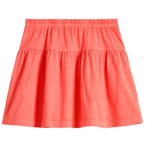 Drop Yoke Skirt - Fiery Coral