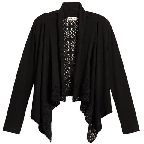 Rib Lace Flyaway Cover-Up - Black