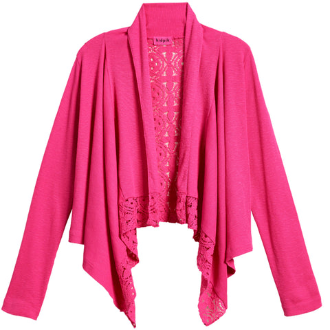 Rib Lace Flyaway Cover-Up - Fuchsia Purple