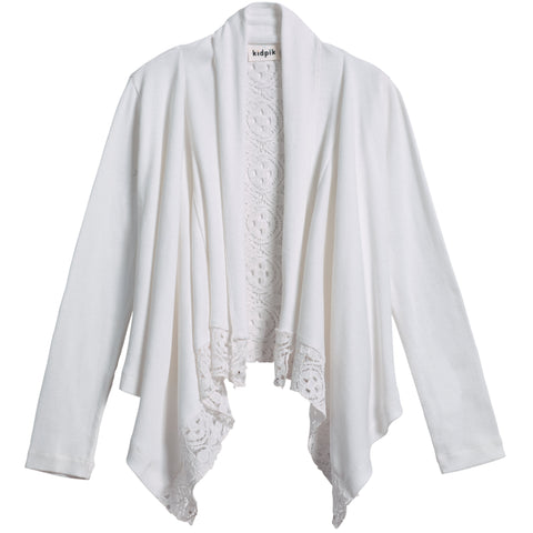 Rib Lace Flyaway Cover-Up - White
