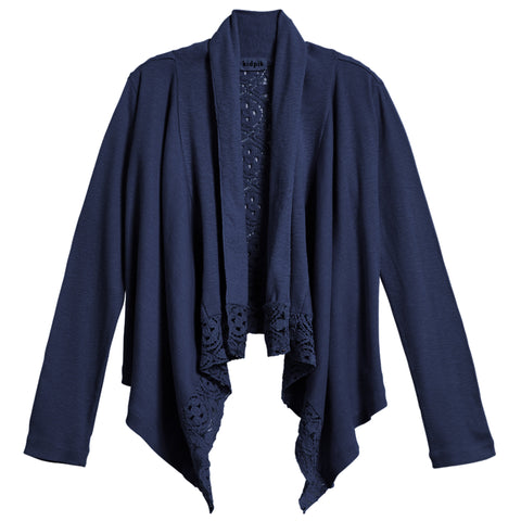 Rib Lace Flyaway Cover-Up - Kidpik Navy