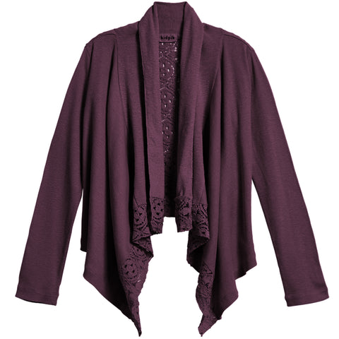 Rib Lace Flyaway Cardigan - Plum Purple