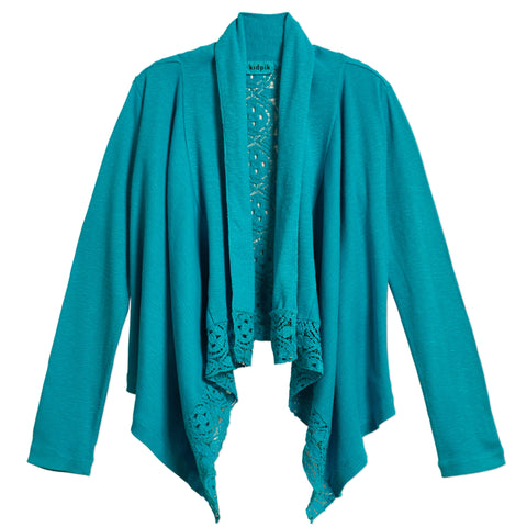 Rib Lace Flyaway Cover-Up - Capri Breeze
