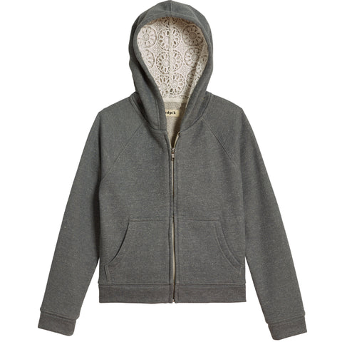 Trimmed Hoodie - Medium Heather Grey