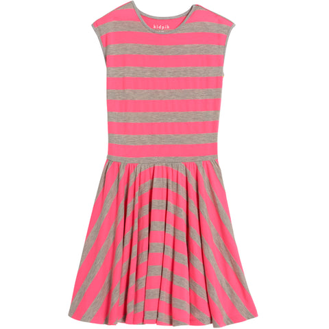 Stripe Skater Dress - Knockout Pink
