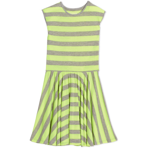 Stripe Skater Dress - Safety Yellow
