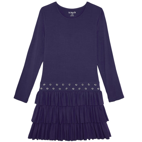 Ruffle Grommet Dress - Kidpik Navy