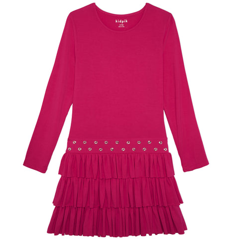 Ruffle Grommet Dress - Raspberry