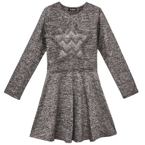 Studded Skater Dress - Charcoal Heather