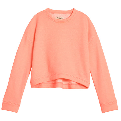 Cropped Sweatshirt - Fiery Coral