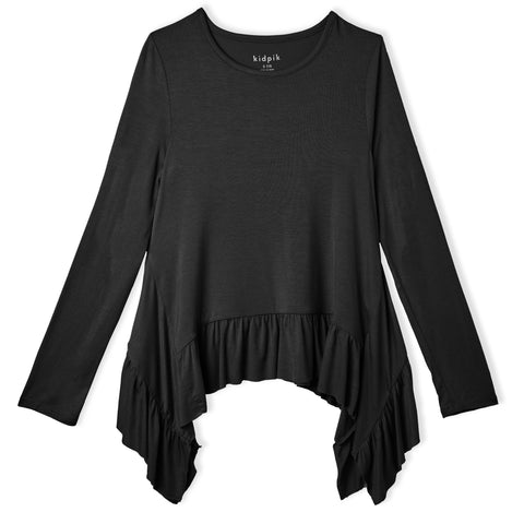 Ruffle Sharkbite Top - Black