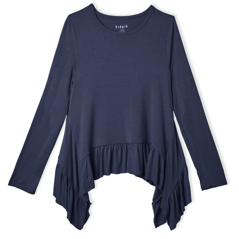Ruffle Sharkbite Top - Kidpik Navy