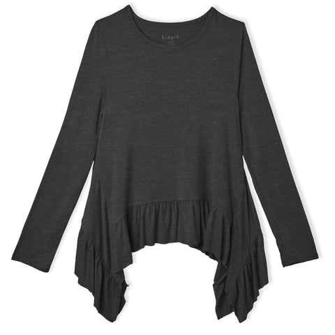 Ruffle Sharkbite Top - Dark Heather Grey