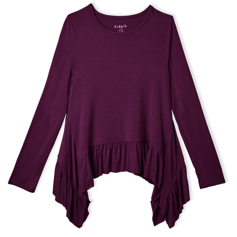 Ruffle Sharkbite Top - Plum Caspia