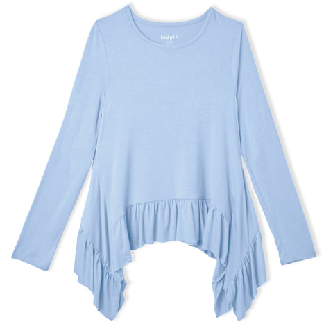 Silky Soft Ruffle Top - Powder Blue