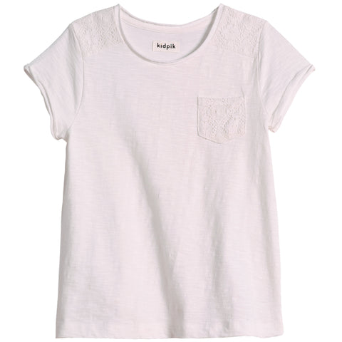 Lace Pocket Tee - White