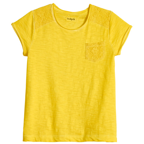 Lace Pocket Tee - Lemon Tonic