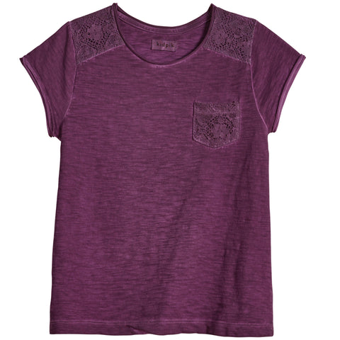 Lace Pocket Tee - Plum Purple