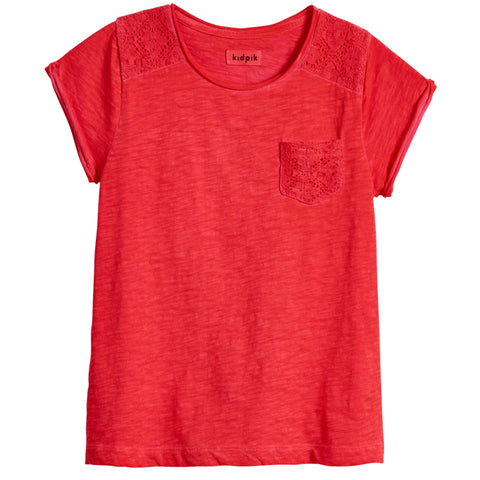 Lace Pocket Tee - Poppy Red