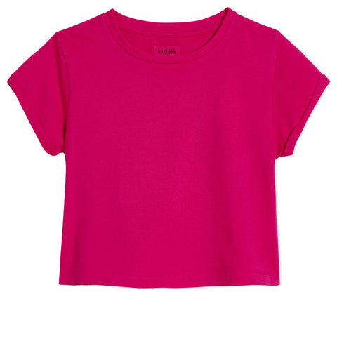 Roll Sleeve Tee - Fuchsia Purple