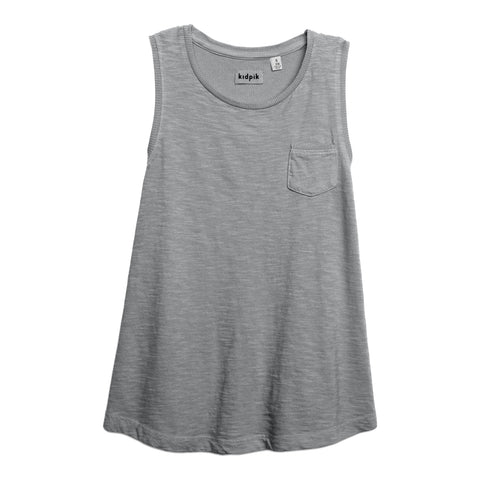 One Pocket Tank - Medium Heather Grey
