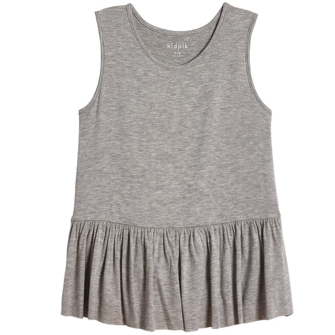 Ruffle Tank - Light Heather Grey