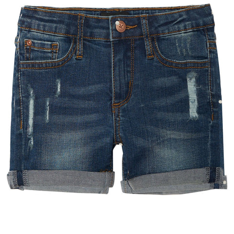 Distress Denim Bermuda Shorts - Yarrow Wash