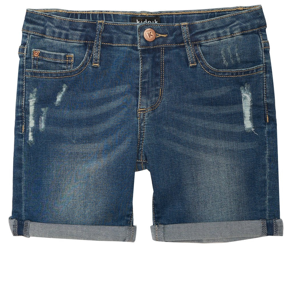 Distress Denim Bermuda Shorts