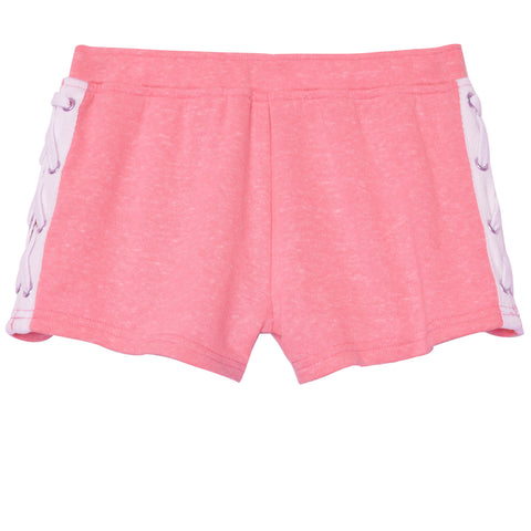 Lace Up French Terry Short - Prism Pink