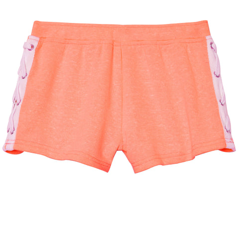 Lace Up French Terry Short - Calypso Coral