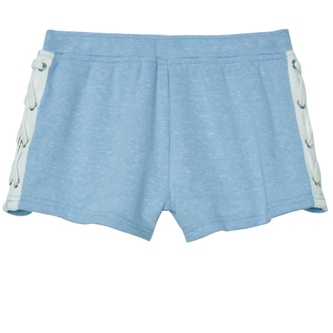 Lace Up French Terry Short - Azure Blue