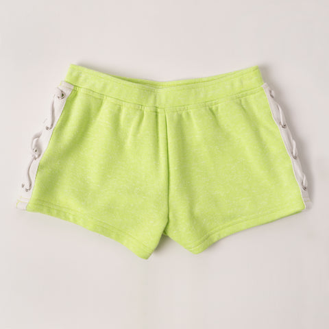 Lace Up French Terry Short - Acid Lime