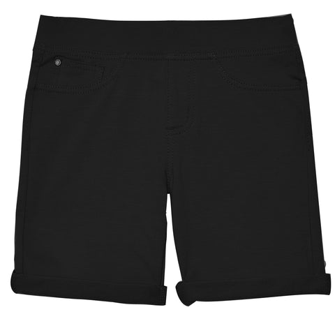 Easy Pull-On Knit Bermuda Shorts - Black