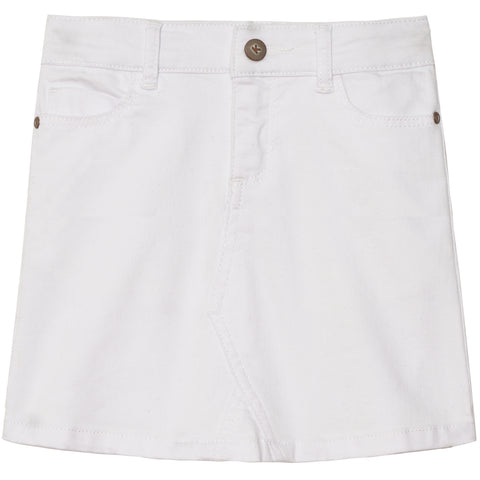 White 5pkt Denim Skirt - White