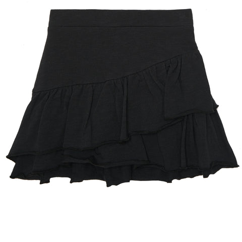 Ruffle French Terry Skirt - Black