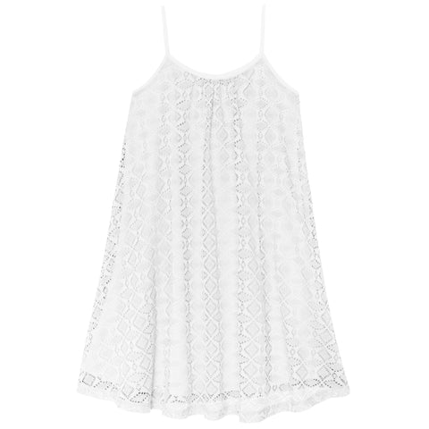 Crochet Swing Dress - White