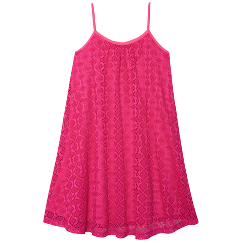 Crochet Swing Dress - Pink Peacock