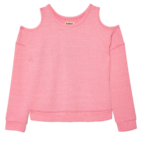 Cold Shoulder French Terry Top - Prism Pink