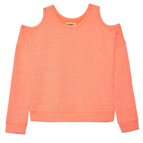 Cold Shoulder French Terry Top - Calypso Coral