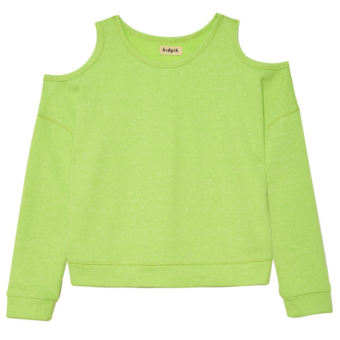 Cold Shoulder French Terry Top - Acid Lime