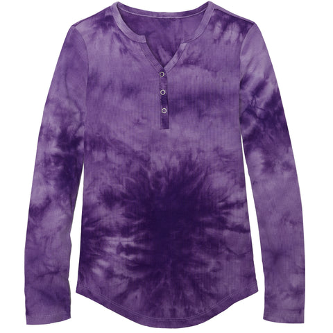 Tie Dye Snap Front Henley - Sheer Lilac