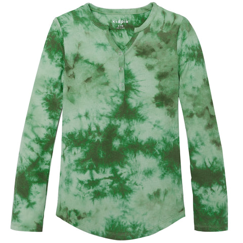 Tie Dye Snap Front Henley - Wasabi