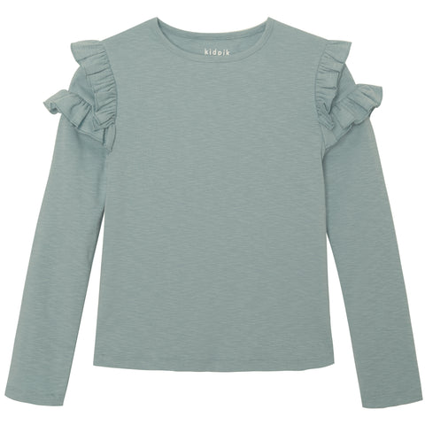 Ruffle Slub Tee - Dusty Blue