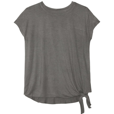 Side Tie Tee - Medium Heather Grey