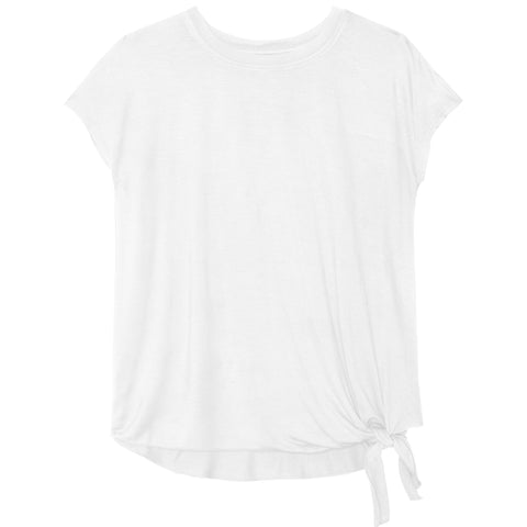 Side Tie Tee - White
