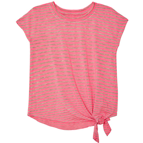 Stripe Side Tie Tee - Pink Glo