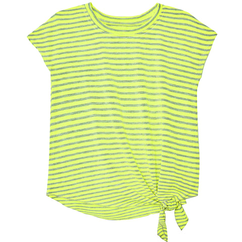 Stripe Side Tie Tee - Limelight