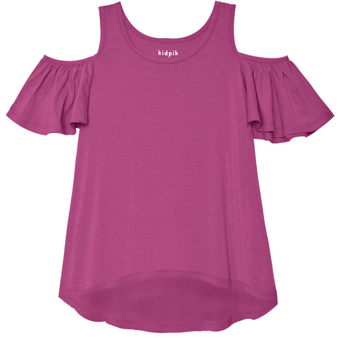 Cold Shoulder Swing Top - Striking Purple