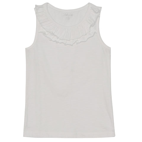 Double Ruffle Tank Top - White