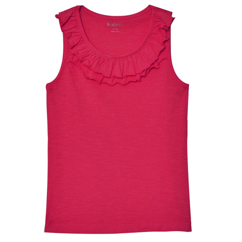 Double Ruffle Tank Top - Pink Peacock